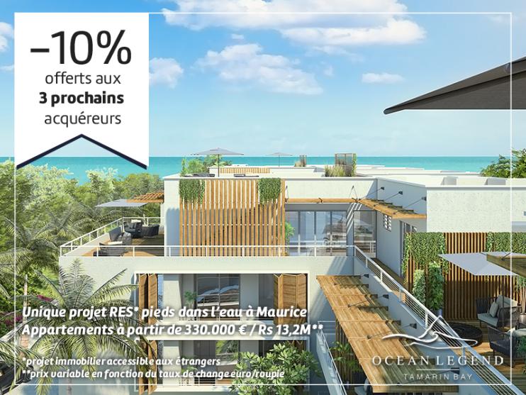 Offre -10% aux 3 prochains acquéreurs dans le programme immobilier Ocean Legend