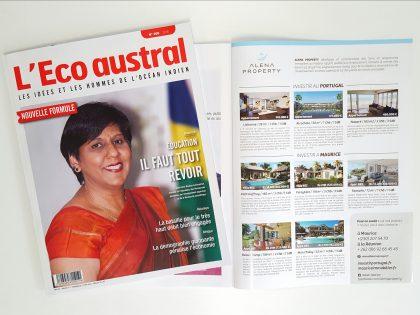 Alena Property en 3ième de couverture de l'Eco Austral, juillet 2016, petites annonces.