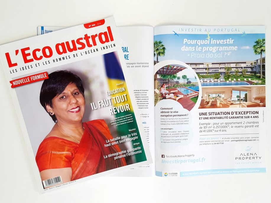 Alena Property dans l'Eco Austral n°309, juillet 2016